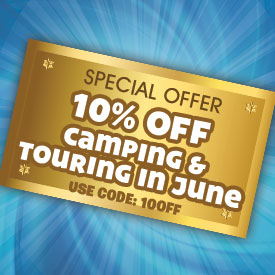 10% off Camping & Touring in June